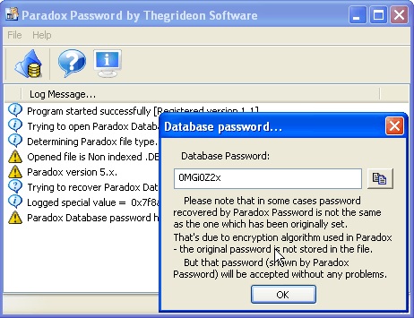 Paradox Password Recovery (TSPXP) Screenshot