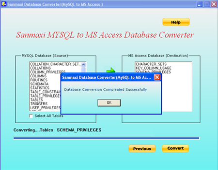 MYSQL to MS Access Database Converter Program Screenshot
