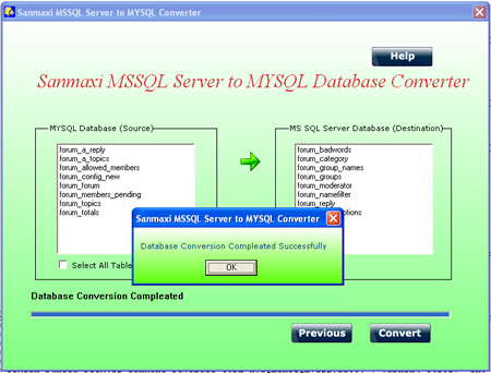 Convert MSSQL to MYSQL Database Screenshot