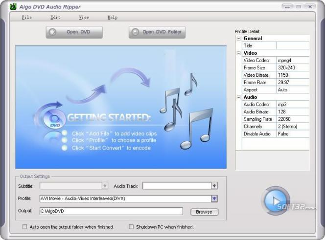 Aigo DVD Audio Ripper Screenshot