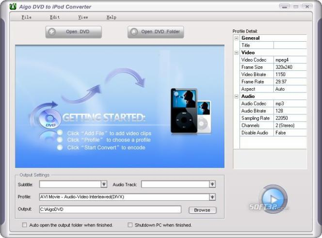 Aigo DVD to iPod Converter Screenshot 1