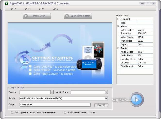 Aigo DVD to iPod/PSP/3GP/Zune/AppleTV/iPhone/MP4 Converter Screenshot