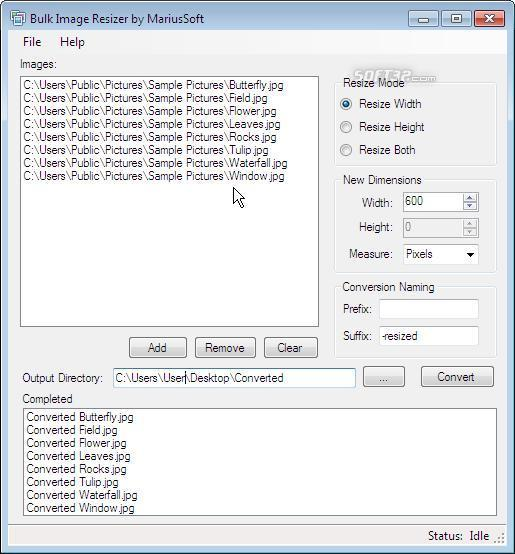 Bulk Image Resizer Screenshot