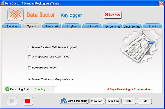 Remote Keylogger Program Screenshot 1
