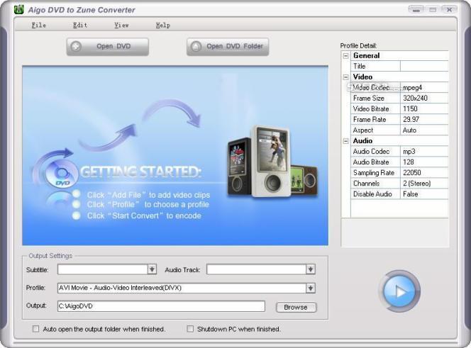 Aigo DVD to Zune Converter Screenshot