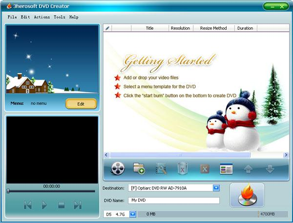 3herosoft DVD Creator Screenshot 1