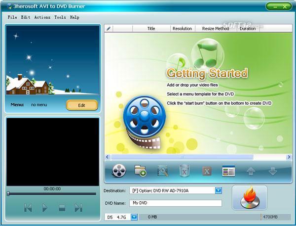 3herosoft AVI to DVD Burner Screenshot 2