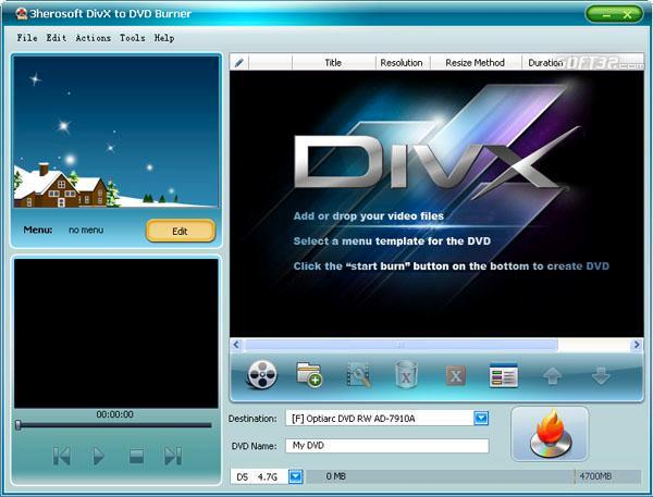 3herosoft DivX to DVD Burner Screenshot 2