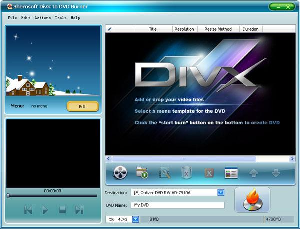 3herosoft DivX to DVD Burner Screenshot 1