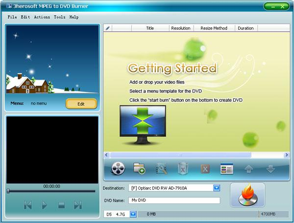 3herosoft MPEG to DVD Burner Screenshot 1
