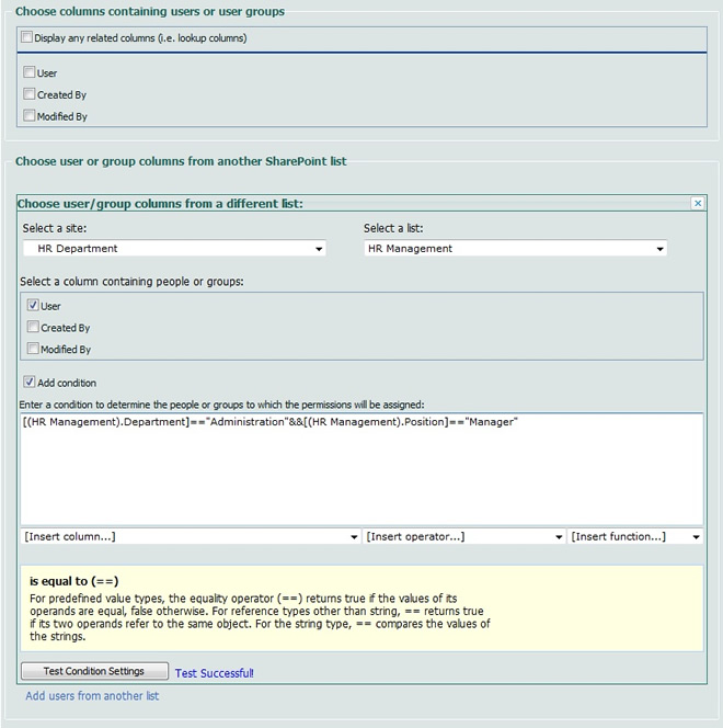 SharePoint Item Permission Batch Screenshot