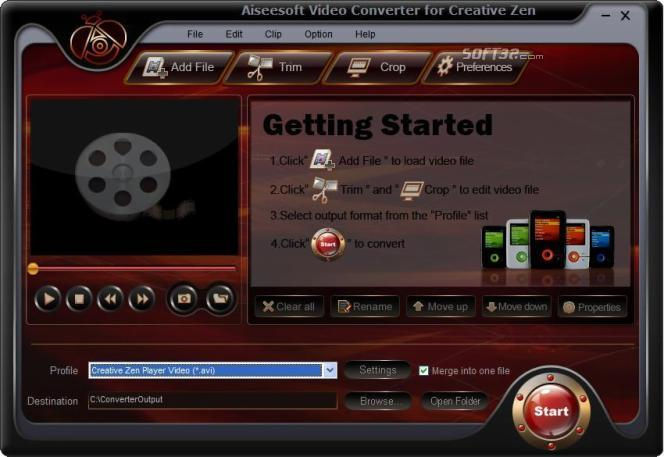 Aiseesoft Creative Zen Video Converter Screenshot 2