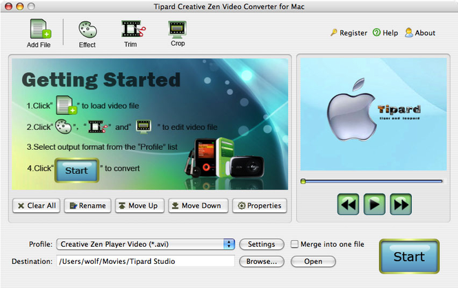 Tipard CreativeZenVideoConverterforMac Screenshot