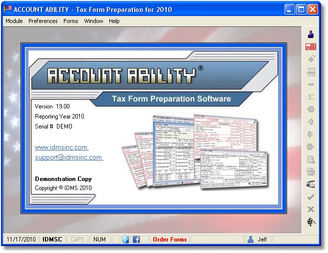 Account Ability Tax Form Preparation Screenshot
