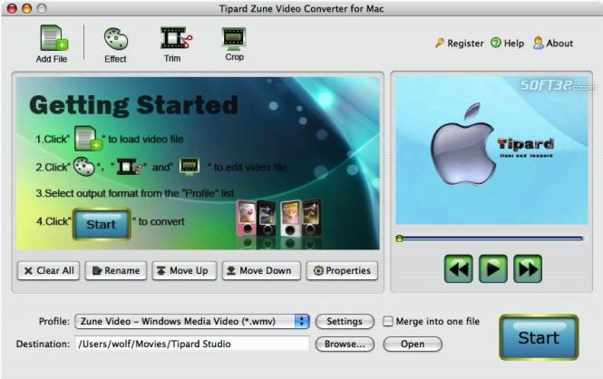 Tipard Zune Video Converter for Mac Screenshot 2