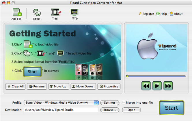 Tipard Zune Video Converter for Mac Screenshot