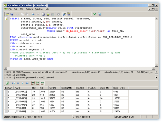 SQL Editor for Oracle Screenshot