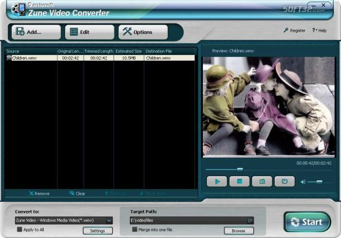 Daniusoft Zune Video Converter Screenshot 1