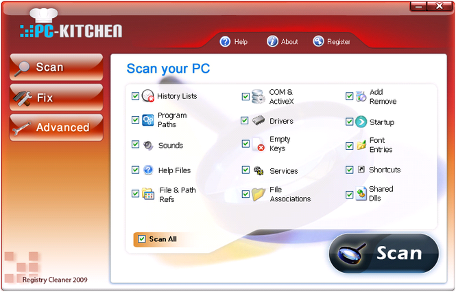 PC Kitchen Registry Cleaner 3 Screenshot