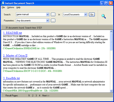 Instant Document Search Screenshot