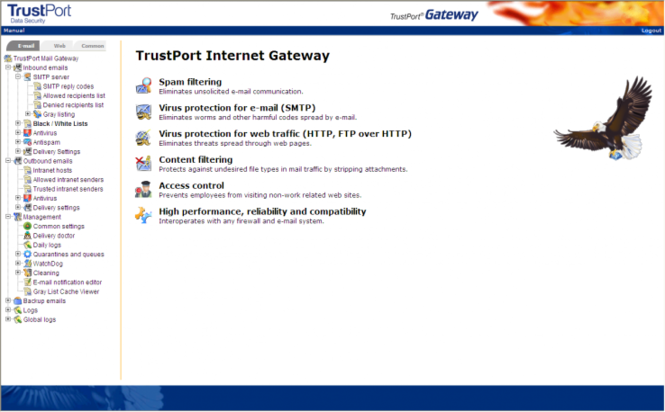 TrustPort Net Gateway Screenshot