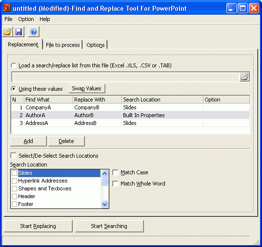 Find and Replace Tool for PowerPoint Screenshot