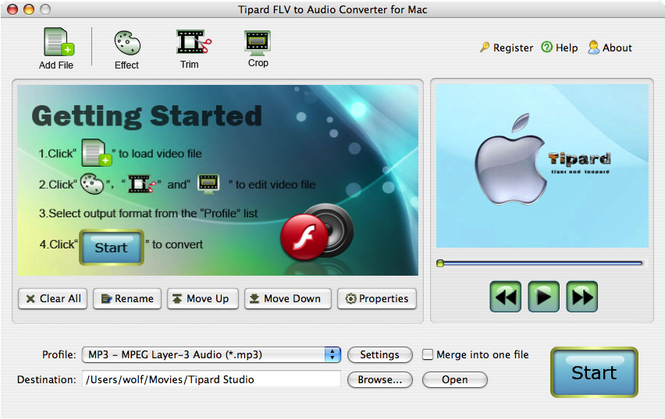 Tipard FLV to Audio Converter for Mac Screenshot