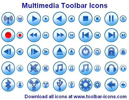 Multimedia Toolbar Icons Screenshot