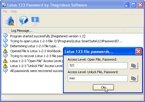 Lotus 1-2-3 Password (TSL1P) Screenshot 1