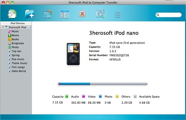 3herosoft iPod to Computer Transfer for Mac Screenshot