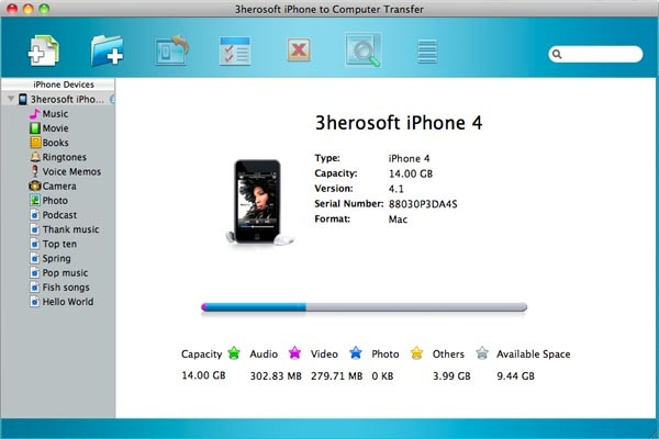 3herosoft iPhone to Computer Transfer for Mac Screenshot 1