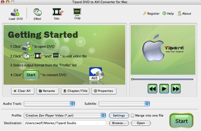 Tipard DVD to AVI Converter for Mac Screenshot