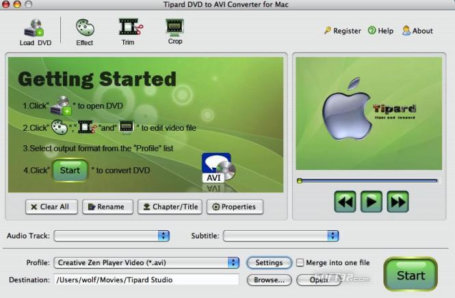 Tipard DVD to AVI Converter for Mac Screenshot 2