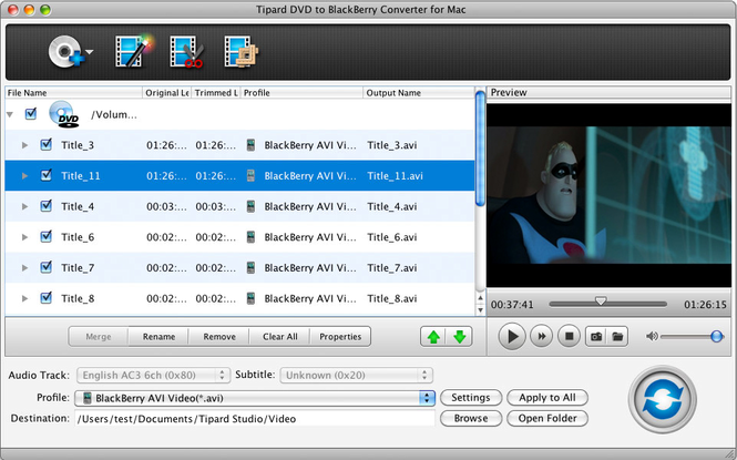 Tipard DVDtoBlackBerry Converter for Mac Screenshot 1