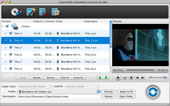 Tipard DVDtoBlackBerry Converter for Mac Screenshot