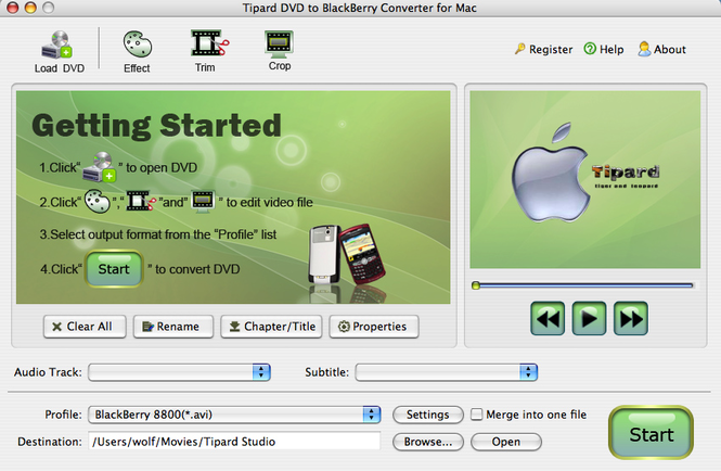 Tipard DVDtoBlackBerry Converter for Mac Screenshot 3