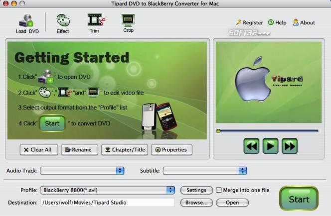 Tipard DVDtoBlackBerry Converter for Mac Screenshot 2