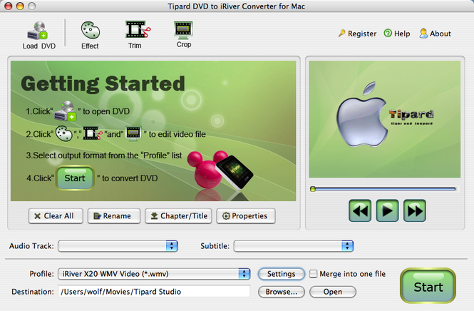 Tipard DVD to iRiver Converter for Mac Screenshot 1