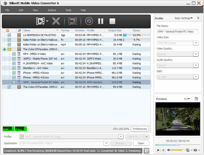 Xilisoft Mobile Video Converter Screenshot 1