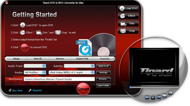 Tipard DVD to MOV Converter for Mac Screenshot