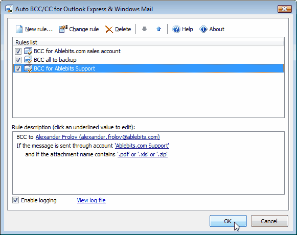 Auto BCC for Outlook Express Screenshot 1