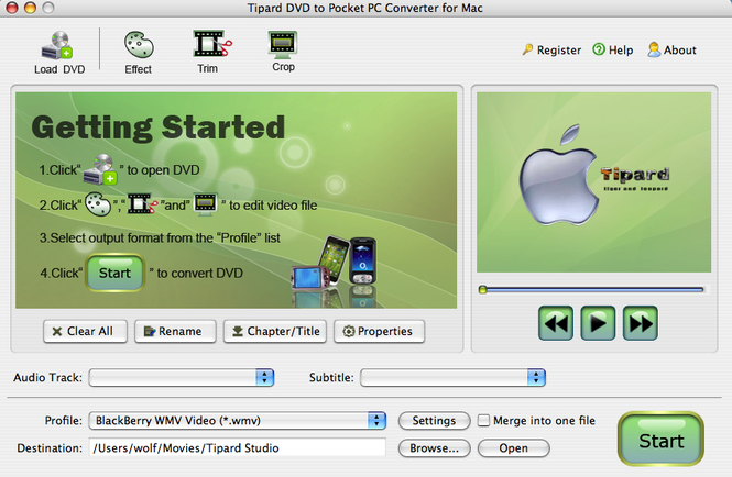 Tipard DVDtoPocket PC Converter for Mac Screenshot