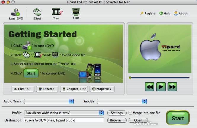 Tipard DVDtoPocket PC Converter for Mac Screenshot 2