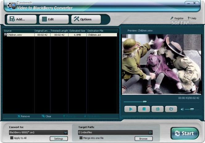 Daniusoft Video to BlackBerry Converter Screenshot 1