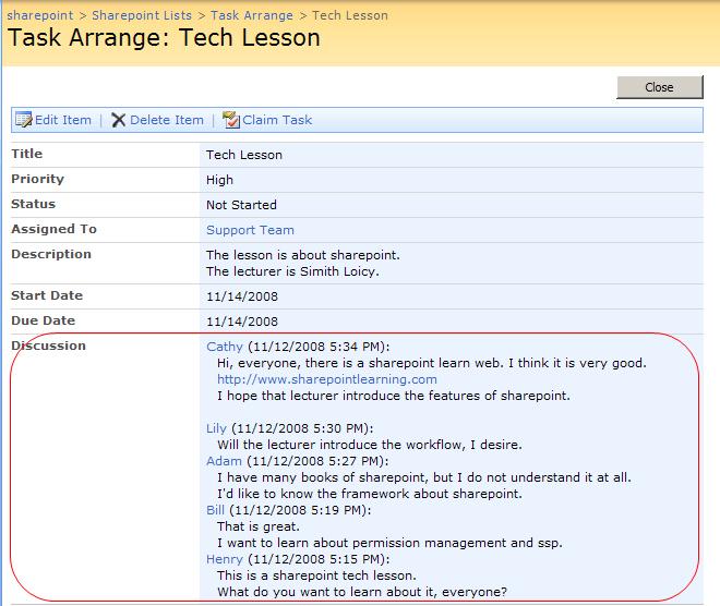 SharePoint Discussion Column Screenshot 2