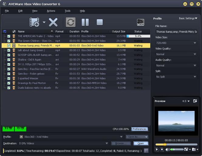 AVCWare Xbox Video Converter Screenshot