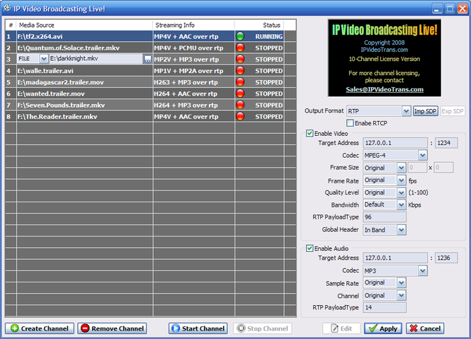 IP Video Transcoding Live! Screenshot