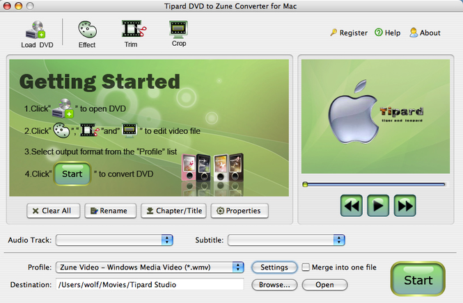 Tipard DVD to Zune Converter for Mac Screenshot