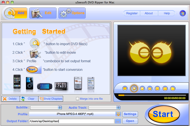 uSeesoft DVD Ripper for Mac Screenshot
