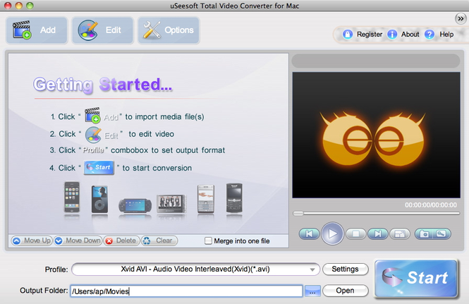 uSeesoft Total Video Converter for Mac Screenshot